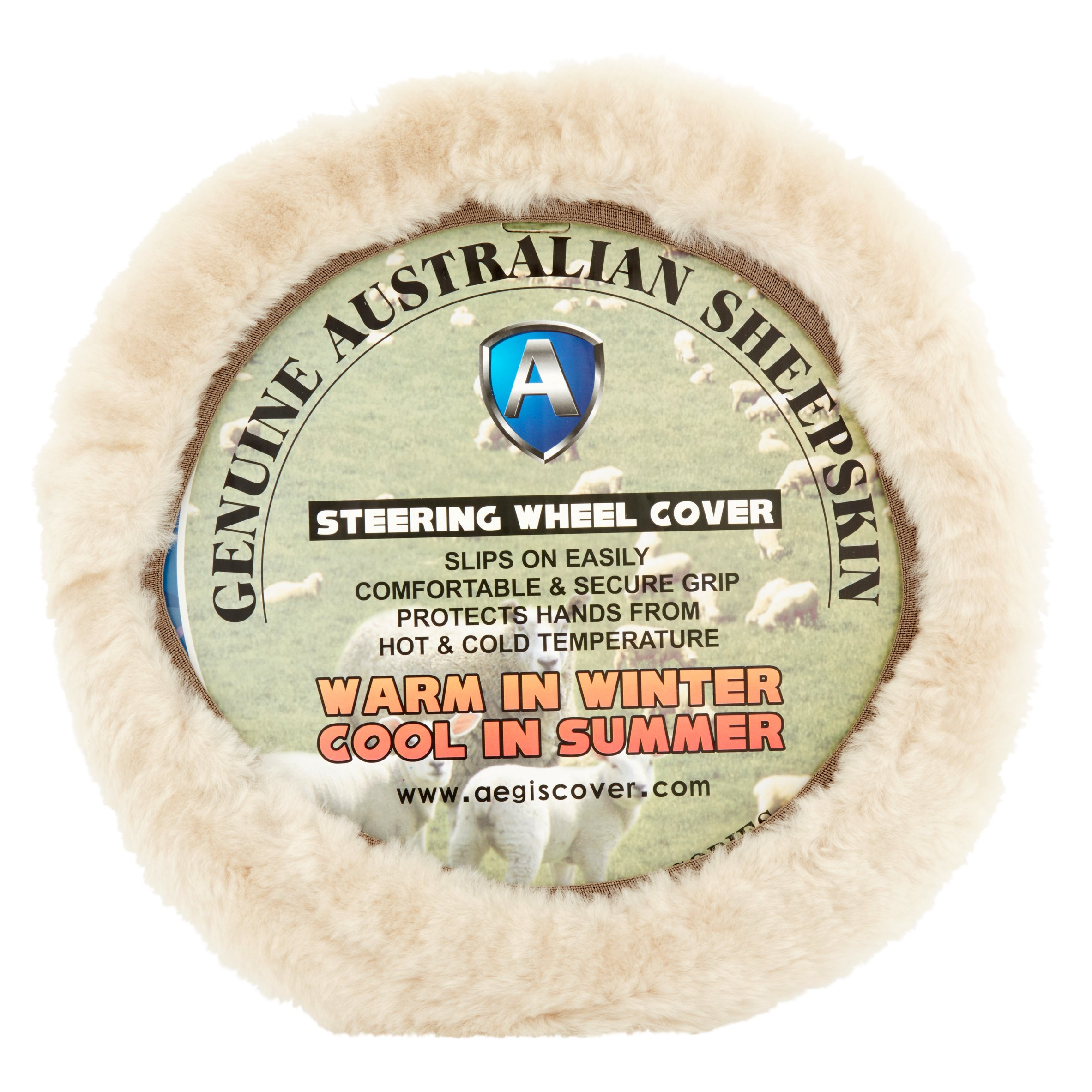 Aegis Cover Genuine Australian Sheepskin Steering Wheel Cover