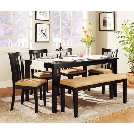 Homelegance Dining Table Set - Homelegance Tibalt 6 Piece Rectangle Black Dining Table Set - 60 in. with Slat Back Chairs & Bench