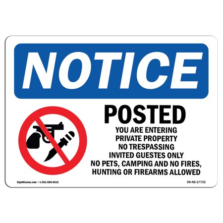 OSHA Notice Sign - Posted You Are Entering Private Sign With Symbol | Choose from: Aluminum, Rigid Plastic or Vinyl Label Decal | Protect Your Business, Construction Site | Made in the USA 10' Heavy Duty Post