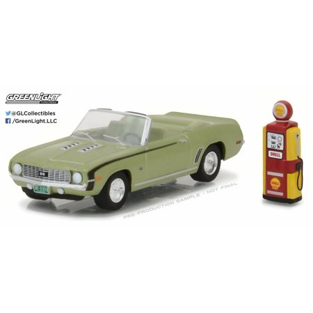1969 Chevrolet Camaro Convertible with Vintage Gas Pump, Green - Greenlight 97010B/48 - 1/64 Scale Diecast Model Toy Car (Gas Toy Cars)