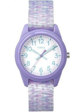 Girls' Time Machines Analog Resin Watch, Purple/White Sport Elastic Fabric Strap