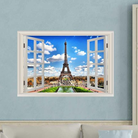 VWAQ Eiffel Tower Wall Stickers For Bedroom - Paris Window Wall Decal - NWT8 (16