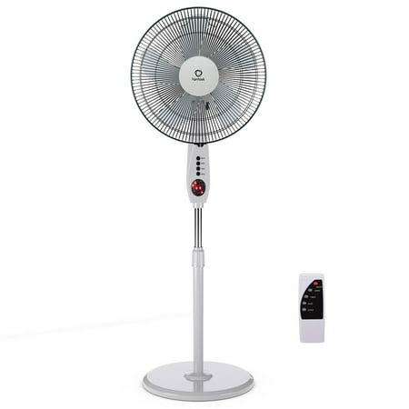 Costway 15'' Pedestal Fan Stand 5 Blades 3-Speed 3 Mode Height Adjustable Remote Control
