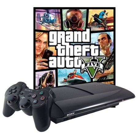 Refurbished Sony PlayStation 3 PS3 Super Slim 500GB Grand Theft Auto V GTA 5 Controller HDMI