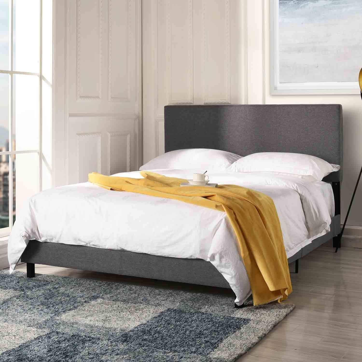 Upholstered Platform Bed Stitched Panel Headboard Bed