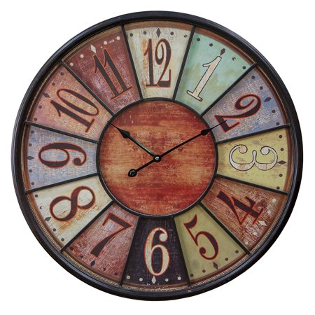 American Mercantile Distressed Multicolor 23.5 in. Wall Clock