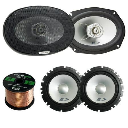 Alpine Type-E SXE1750S Car Audio 6.5-Inch Component 2-Way Speaker Set Of 2 Bundle + Alpine SXE-6925S 6x9 Inch 280 Watts 2-Way Coaxial Car Speaker Set Of Two - 1 Enrock 50 Feet 16 Gauge Speaker Wire ()