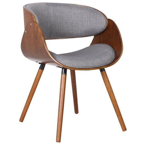 US Pride Furniture Mid Century Wood and Fabric Upholstered Chair with Wraparound Back, Grey, C-063