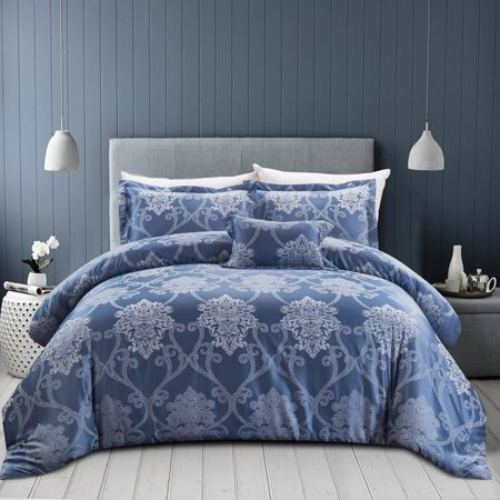 Luxury Hotel Collection King Size Bedding Comforter Milano 4 Piece Royal Blue Sets