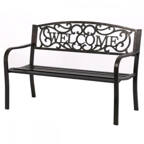 50inch Patio Garden Bench Park Yard Outdoor Furniture Steel Frame Porch Chair by GB-W23-Bronze1