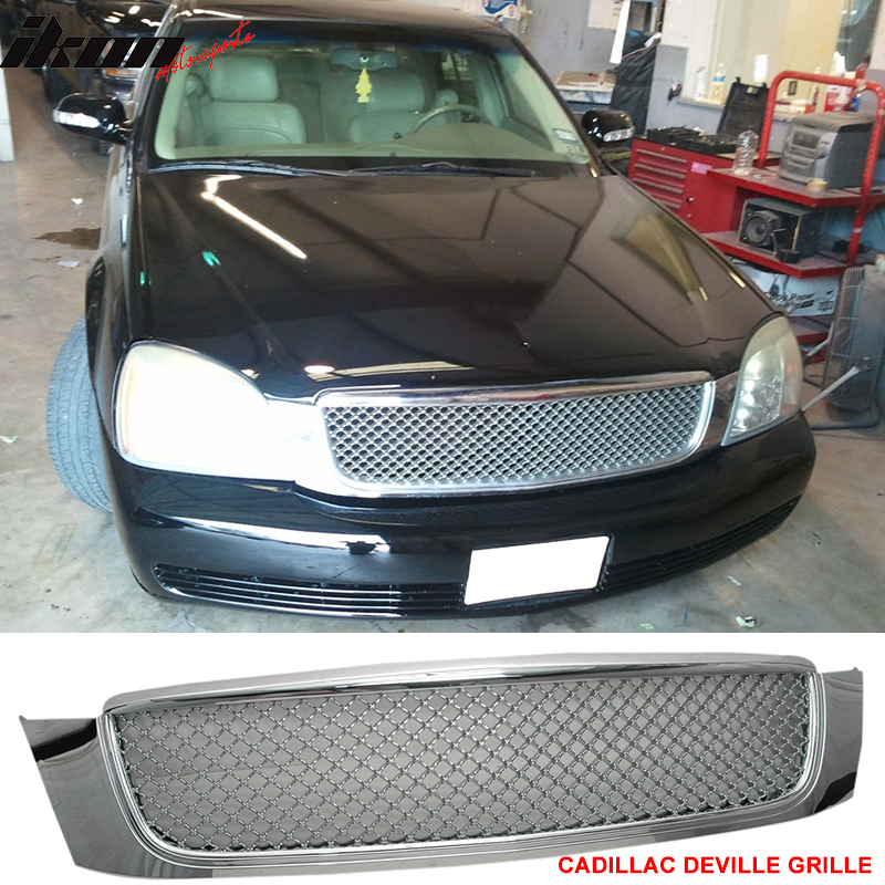 Ikon Motorsports Grille - Fits 00-05 Cadillac Deville Chrome Mesh Grill Grille - ABS