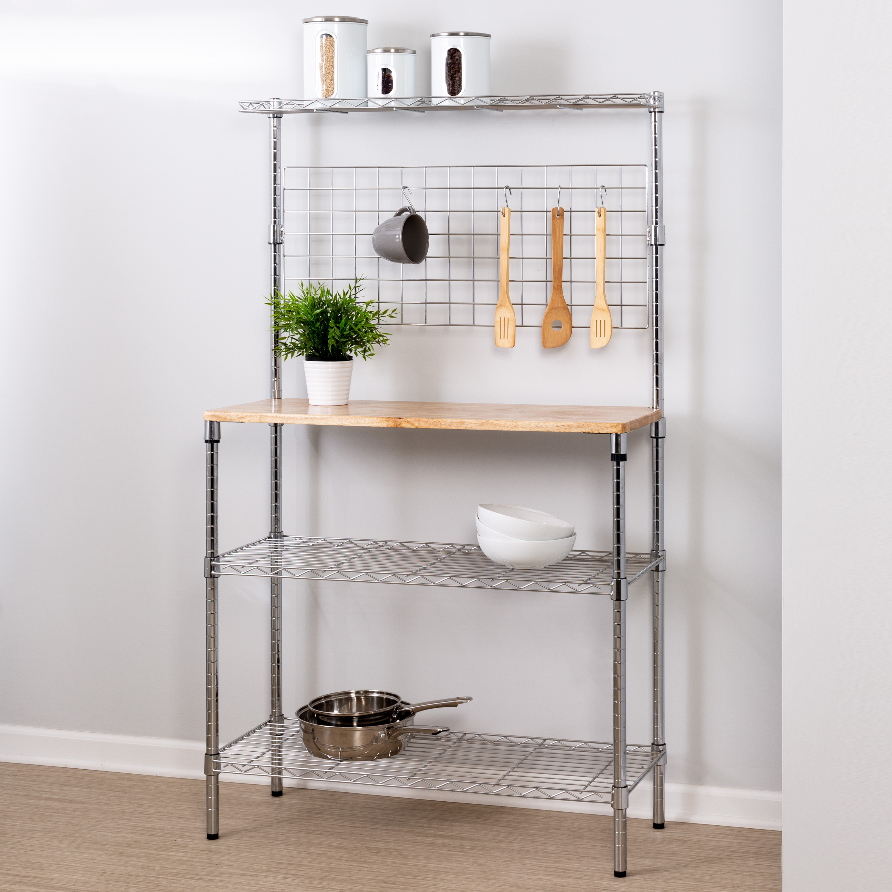 Honey Can Do 3-Tier Urban Bakers Rack with Hanging Bar, Chrome/Natural