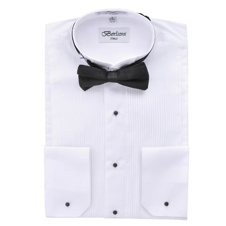 Berlioni Italy Men'S Tuxedo Shirt Wingtip Collar W/Bow-Tie Dress Shirt White S-32/33