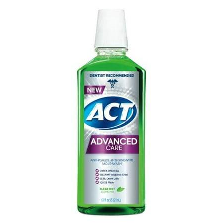 ACT Advanced Care Plaque Guard Mouthwash Clean Mint 18oz Each