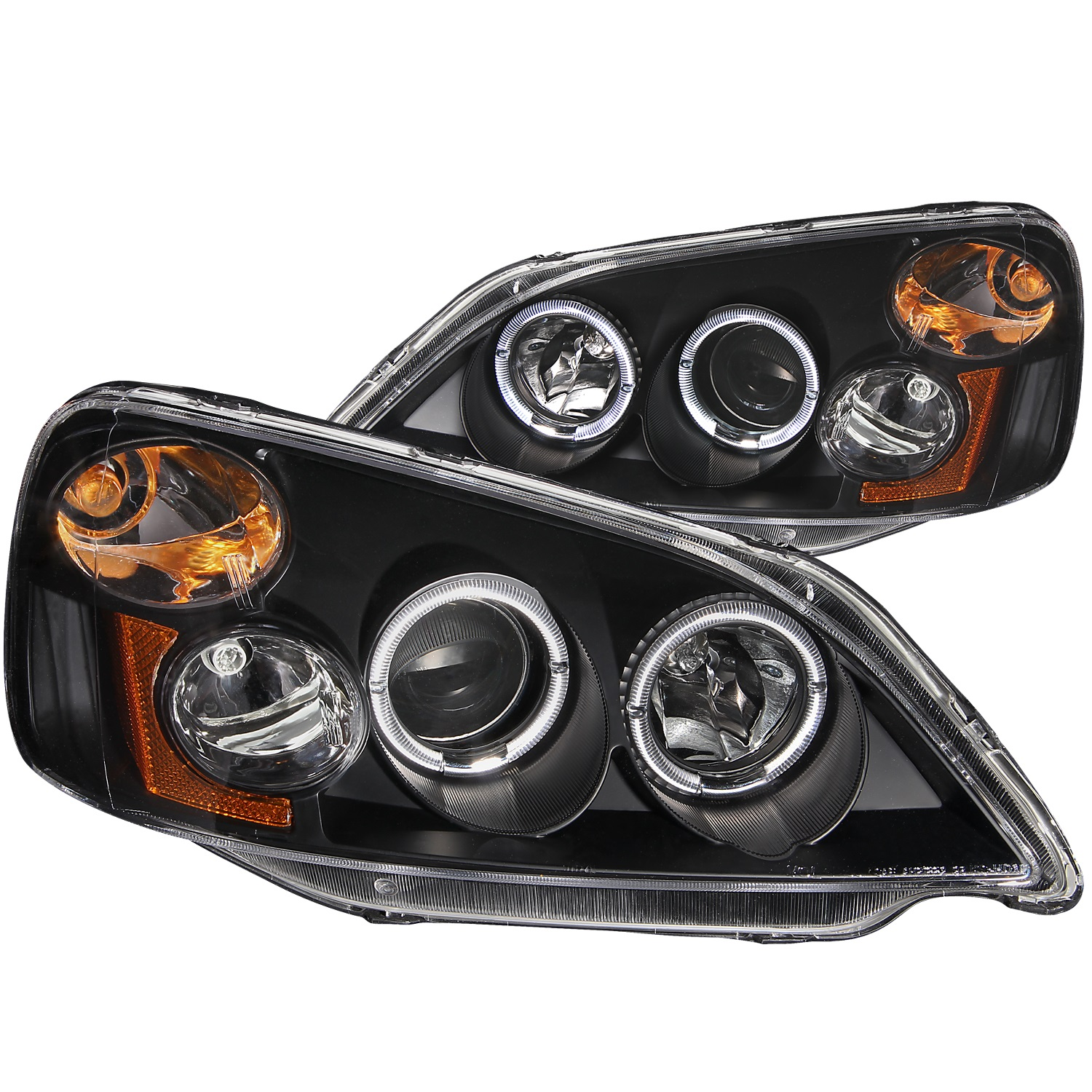 ANZO 2001-2003 Honda Civic Projector Headlights w/ Halo Black