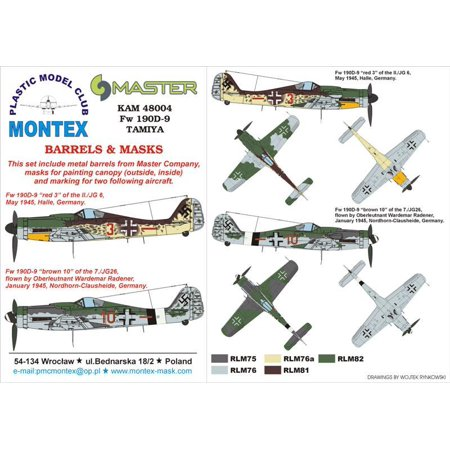 Montex KAM 1:48 Fw-109 D-9 #1 for Tamiya Mask + Metal Part #KAM48004