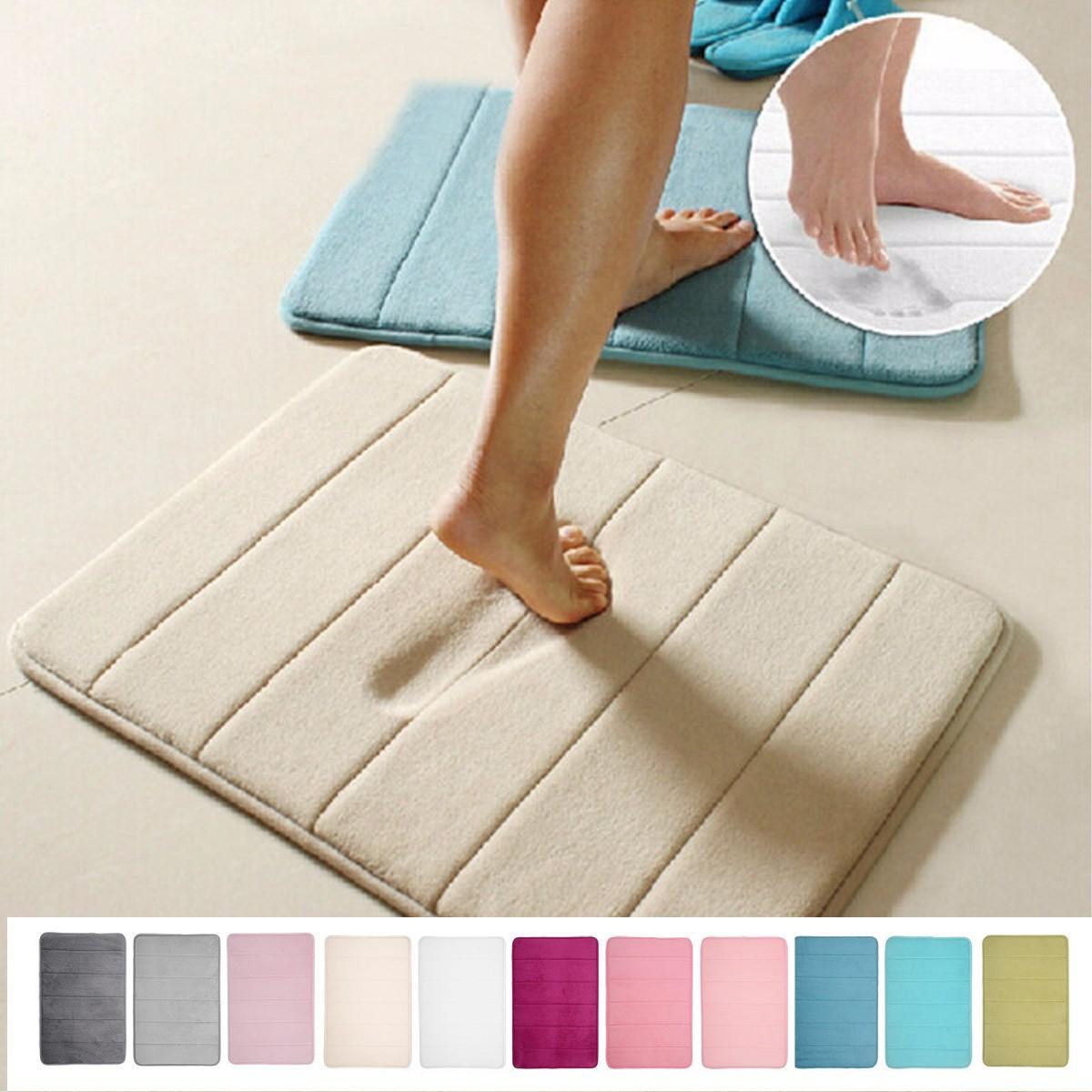 Soft and Comfortable Memory Foam Mat Bath Bathroom Bedroom Kitchen Dorm Floor Shower Rug Non-slip