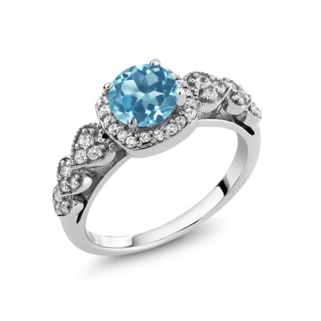 1.22 Ct Round Swiss Blue Topaz 925 Sterling Silver Ring - image 4 of 4
