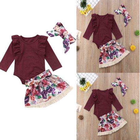 1887c3477 Newborn Infant Baby Girls Clothes Sets 3PCS Ruffles Solid Long Sleeve Romper  Tops Floral Skirts+Headband - Walmart.com
