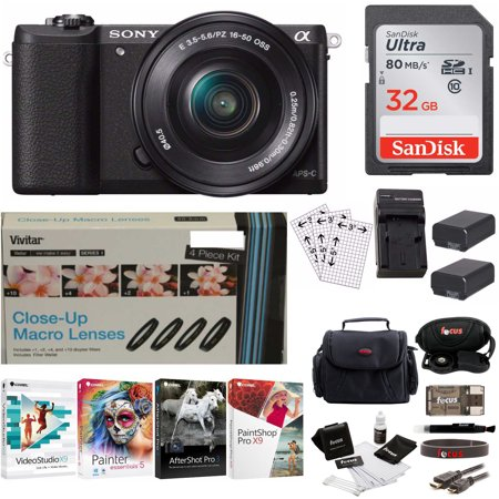 Sony Alpha a5100 Mirrorless Digital Camera w/ 16-50mm Lens + Corel Software  Kit + Accessory Bundle