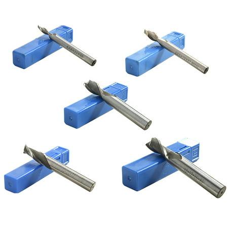 NK HOME 5 PCS 4-12mm, 4mm/6mm/8mm/10mm/12mm 2 Flute End Milling Cutter Engraving Carbide Flat Nose End Mills Router Bit