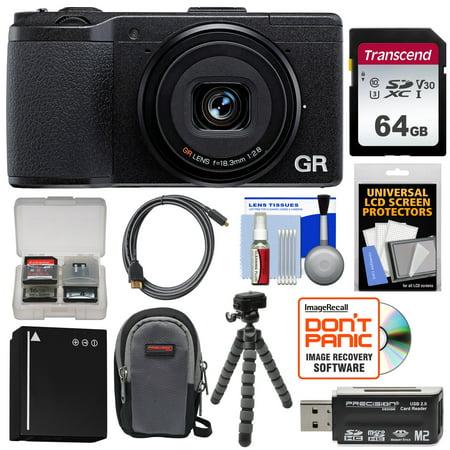 Ricoh GR II Wi-Fi Digital Camera with 64GB Card + Battery + Case + Flex Tripod + -