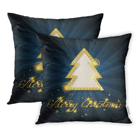 - YWOTA Vintage Merry Christmas and Happy New Year Shining Gold Snowflakes Balls Pillow Cases Cushion Cover 16x16 inch