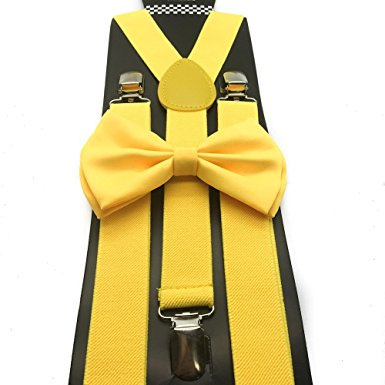 Awesome Yellow Color Wedding Accessories Adjustable Bow Tie & - Yellow Bow Tie And Suspenders