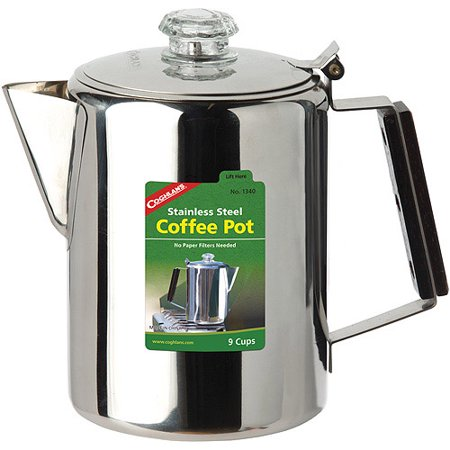 Coleman Camping Coffee Maker Parts : Coghlan s 9-Cup Coffee Percolator, 1340, Stainless Steel - Walmart.com