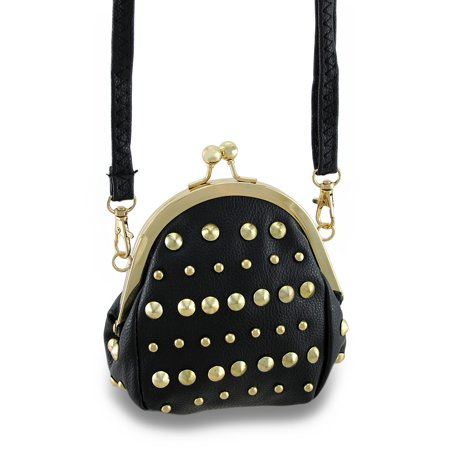 (Studded Coin Purse Style Cross Body Purse w/Removable Strap)