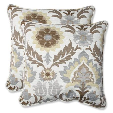Set of 2 chocolate brown and gray pierre de lune outdoor for Brown and gray throw pillows