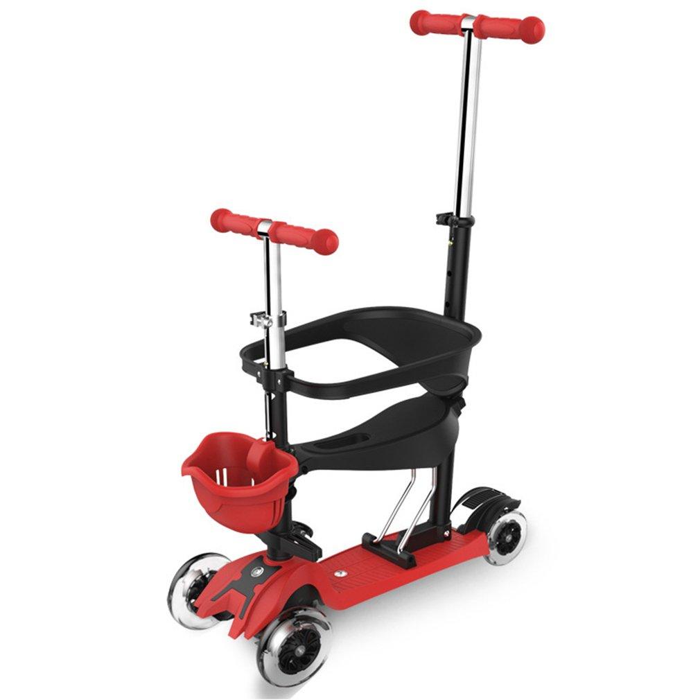Red 3-in-1 4 Wheels Skateboard Scooter Full Guardrail Wit...