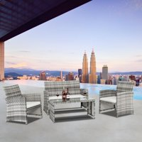 Zimtown 4 Piece Outdoor Conversation Set PE Wicker Gray with Cushions