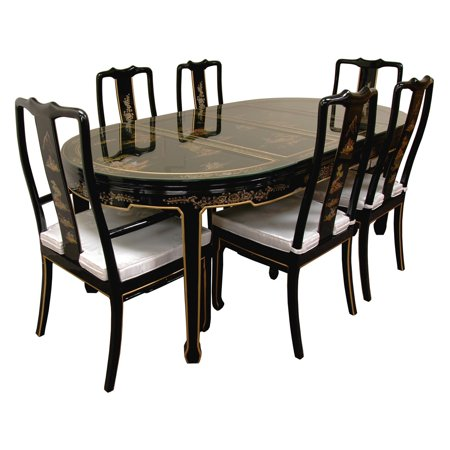 Oriental Hand Painted Black Lacquer Dining Table Chairs