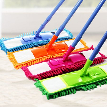 Moaere Soft Bristle Rubber Broom Sweeper Dry and Wet Floor Mopping and Cleaning Sweeper with Telescopic Handle