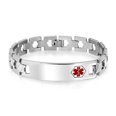 Engravable Doctors Medical Alert ID Identification Bracelet Cross Link Band For Men For Teen Silver Tone Stainless Steel ()