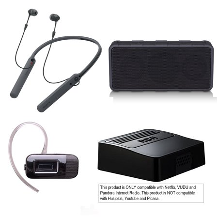 Tech & Gadget Electronics Gift Box Audio TV Video Bundle Holiday Christmas - Sonyy Bluetooth Sport Headset + Speaker + Netflix Player, Earbuds for iPhone & Android (New Open Box) ()