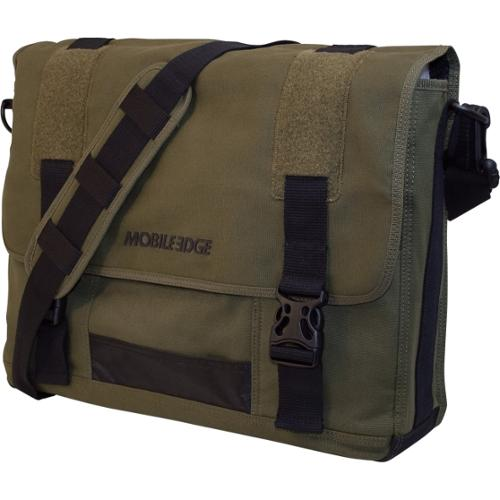 "Mobile Edge 17.3"" Eco-Friendly Canvas Messenger Bag - 17.3"" Screen Support - 13"" x 17.5"" x 4.25"" - Cotton Canvas - Olive"