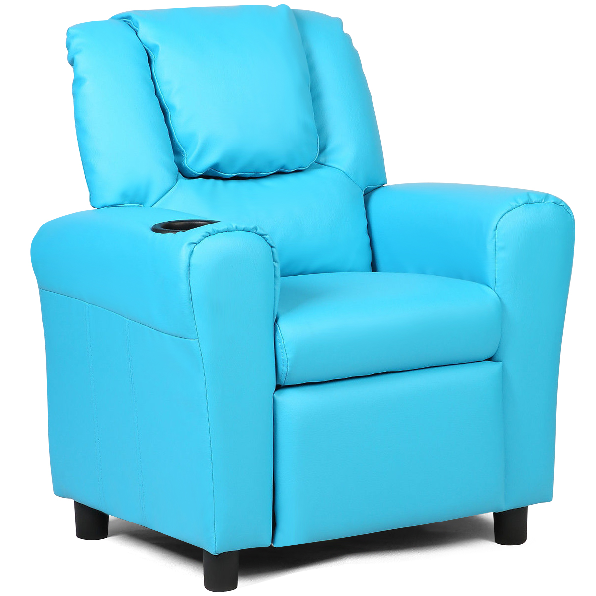 Costway Kids Recliner Armchair Children's Furniture Sofa Seat Couch Chair w Cup Holder Blue by Costway