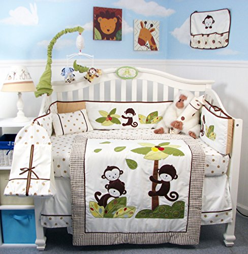 SoHo Monkey Coconut Tree Baby Crib Nursery Bedding Set 14 pcs included Diaper Bag with Changing Pad & Bottle Case