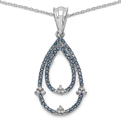 Malaika .925 Sterling Silver 0.34 Carat Genuine Blue & White Diamond Pendant (I2-I3)