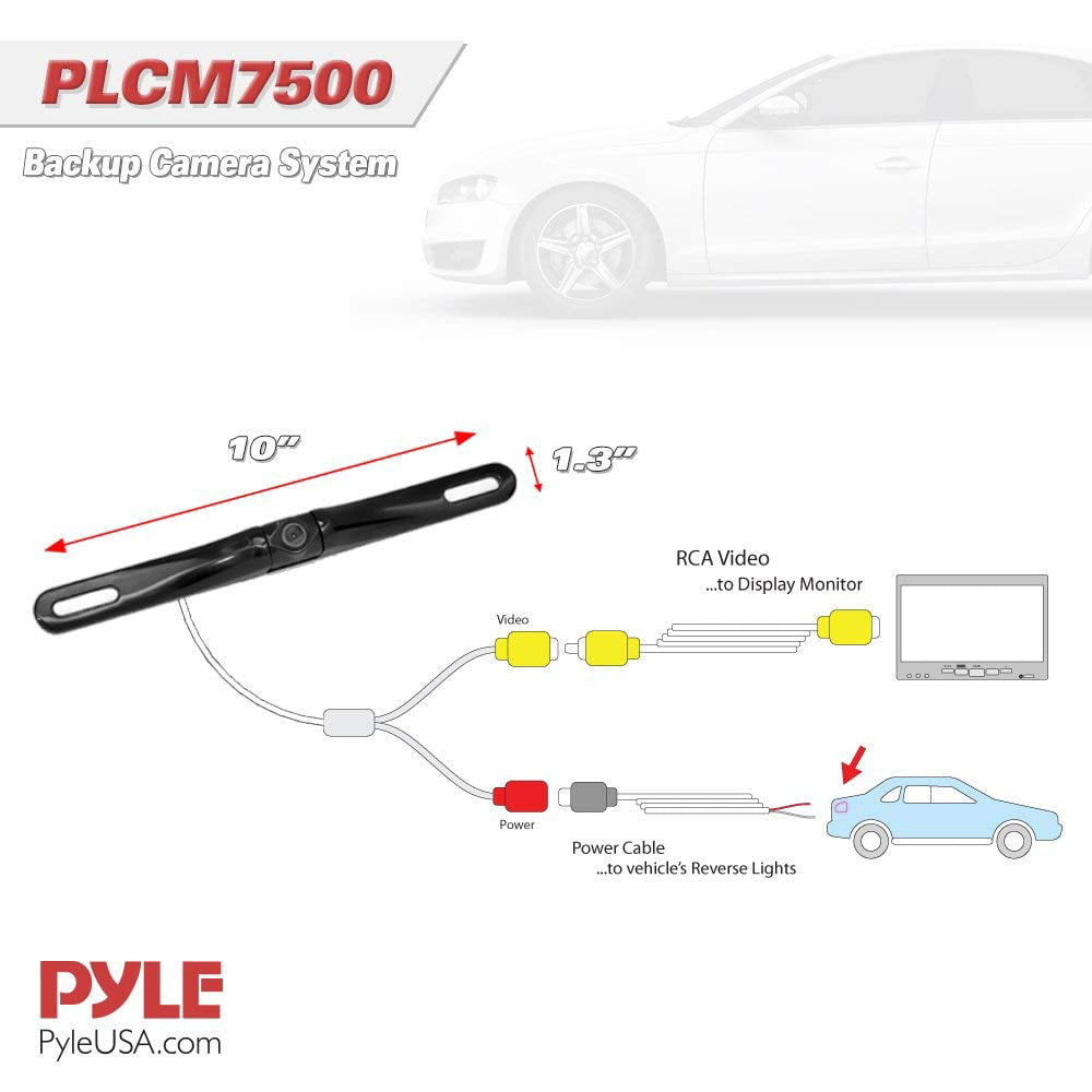 pyle plcm7500 rear view backup car camera screen monitor system Panasonic Wiring Diagram pyle plcm7500 rear view backup car camera screen monitor system w parking and reverse assist safety distance scale lines, waterproof \u0026 night vision,
