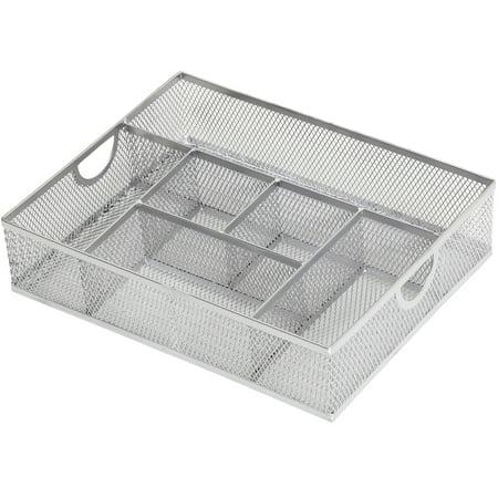 Storage Trays (Ybm Home Office School Desk Drawer Storage Organizer Tray Compact Caddy , 6 Compartments, Metal Mesh, Silver)