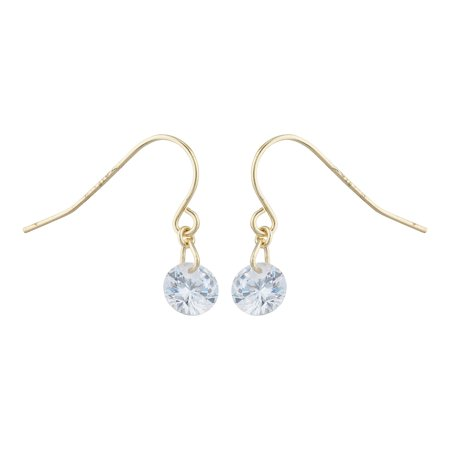 Lux Accessories Gold Tone Solitaire Faux Rhinestone Dangle Fish Hook Earrings