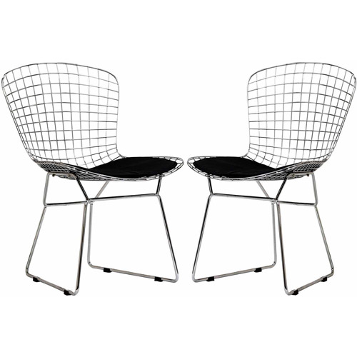 Modway Cad Dining Chairs with Leatherette Seat, Set of 2 in Black