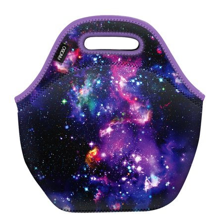WIRESTER Neoprene Lunch Tote Bag, Cooler Warm Handbag Pouch, Purple Marvel Nebula Galaxy (Lunch Boxes Warm)