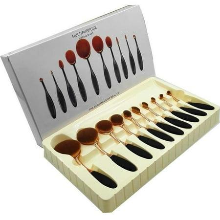 10pcs/set Beauty Toothbrush Makeup Brushes Set Oval Cream Puff Kabuki Brush - image 1 of 5