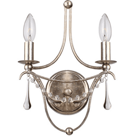Wall Sconces 2 Light With Antique Silver Clear Glass Beads and Murano Crystal Wrought Iron 10 inch 120 Watts - World of Lighting