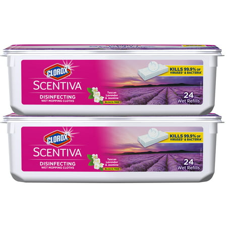 Clorox Scentiva Disinfecting Mopping Cloths, Tuscan Lavender & Jasmine, 48 (Wet Mopping Cloths Open Window)