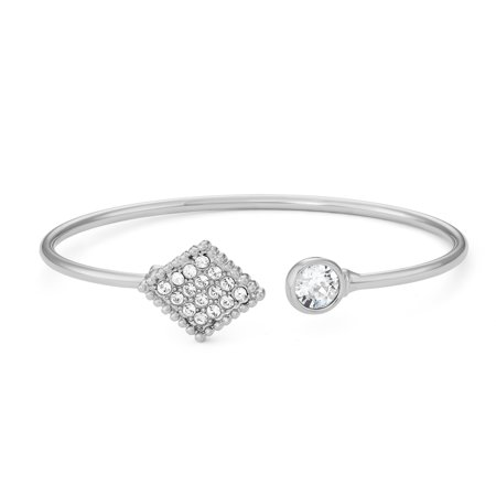 - Rhodium Plated Open End Bangle Bracelet With Crystal Diamond, Made With Swarovski Crystals